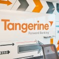 Office interior of Tangerine displaying wall graphics produced by TI Group.